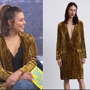 NWOT Zara long mustard velvet blazer